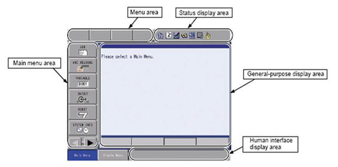รายละเอียดของ Touch Panel บน Programming Pendant ยี่ห้อ Yaskawa