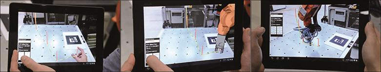 การกำหนดแต่ละ 'ท่าทาง' ด้วยลักษณะการเคลื่อนไหว (ซ้าย) การจำลองการทำงานของโปรแกรมสำหรับหุ่นยนต์(กลาง) และการทำงานของโปรแกรมที่ถูกสร้างขึ้นโดยอัตโนมัติที่ตัวหุ่นยนต์จริง (ขวา)