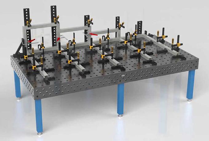 โต๊ะเชื่อมโลหะขนาดใหญ่ พร้อมอุปกรณ์จัดยึดทรงประสิทธิภาพของ SIEGMUND