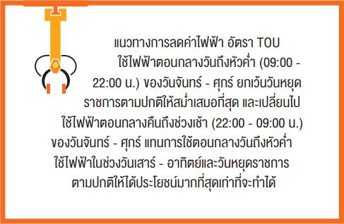 แนวทางการลดค่าไฟฟ้า อัตรา TOU