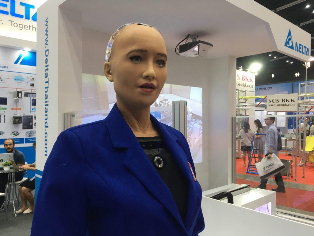 หุ่นยนต์โซเฟียพูดได้ Manufacturing Expo