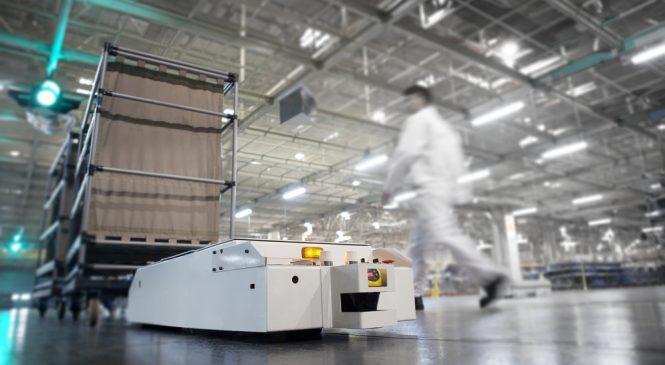 หุ่นยนต์เคลื่อนที่ได้กับโมดูลสายพานลำเลียง