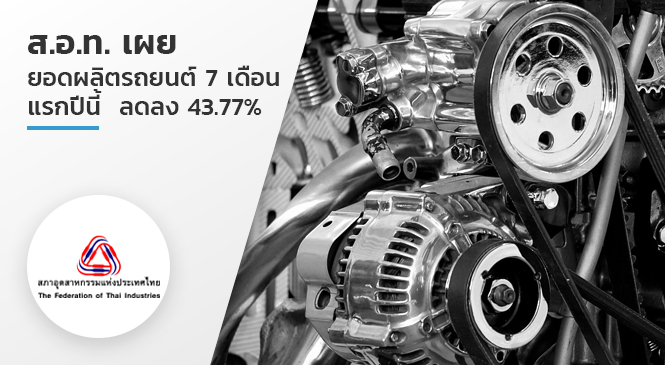 ส.อ.ท. เผย ยอดผลิตรถยนต์  7 เดือนแรกปีนี้  ลดลง 43.77%